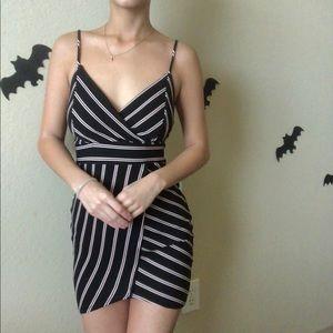 Mini tight black stripe dress
